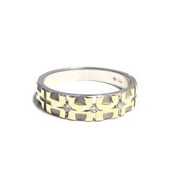 14K White and Yellow Gold Diamond (0.06ct) Mens Band