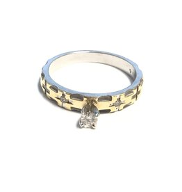 14K Two Tone White and Yellow Gold (0.10ct) Diamond Promise Ring