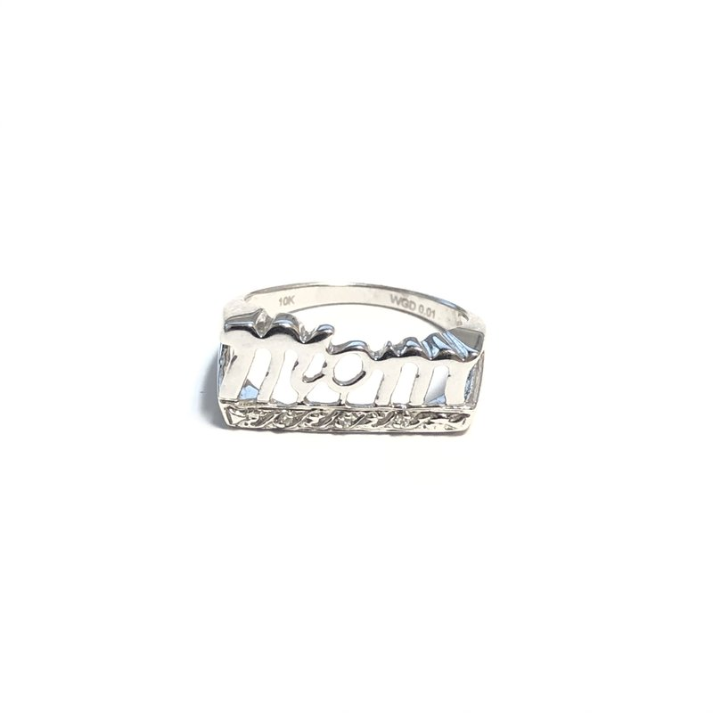 10K White Gold (0.03ct) Diamond Mom Ring