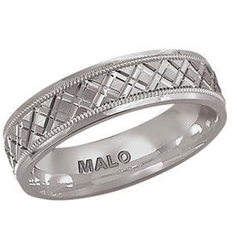 Malo 10K White Gold (7mm) Mens Laser Cut Band SZ-10