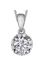 I am Canadian 10K White Gold (0.27ct) Canadian Diamond Cluster Halo Pendant