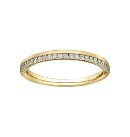 (10K, 14K) Yellow Gold Ladies (0.15ct) Diamond Stackable Wedding Band