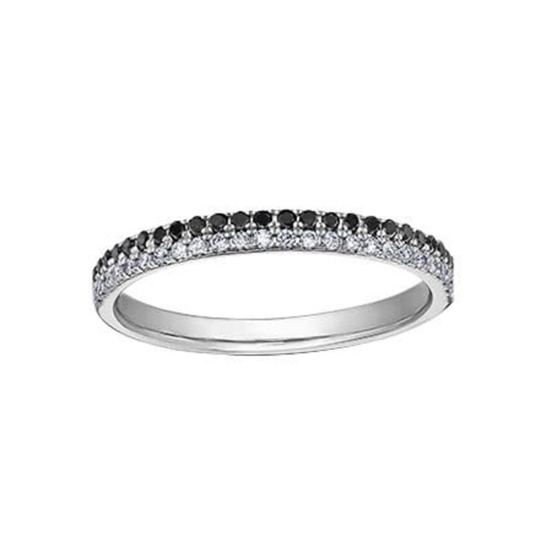 10K White Gold (0.25ct) Black and White Diamond Stackable Band
