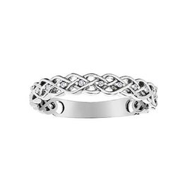 10K White Gold (0.03ct) Diamond Stackable Wedding Band