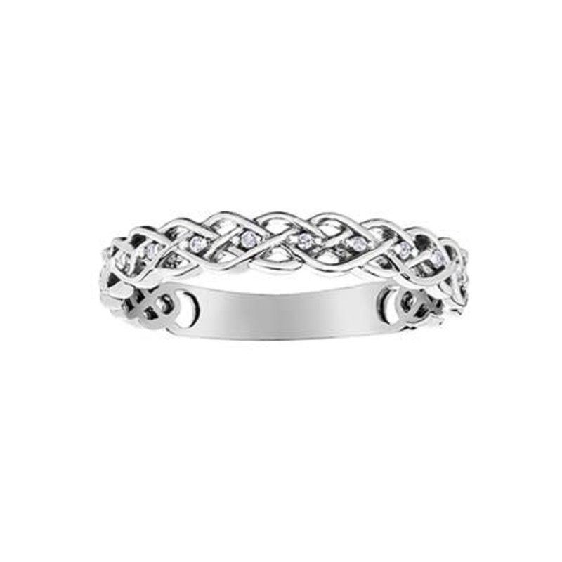 10K White Gold (0.03ct) Diamond InfinityStackable Ring