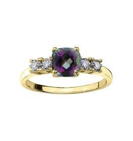 10K Yellow Gold Mystic Topaz Diamond Ring
