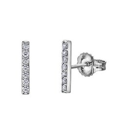 10K White Gold Bar (0.14ct) Diamond Stud Earrings