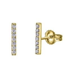 10K Yellow Gold Bar (0.14ct) Diamond Stud Earrings