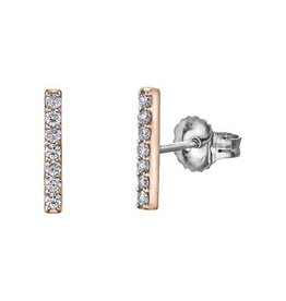 10K Rose Gold Bar (0.14ct) Diamond Stud Earrings