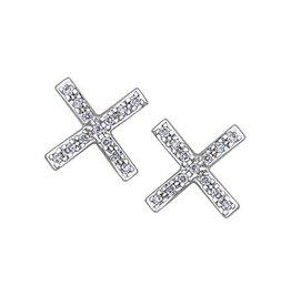 10K White Gold (0.07ct) Diamond Geometric Stud Earrings