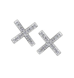 White Gold (0.07ct) Cris Cross Diamond Stud Earrings