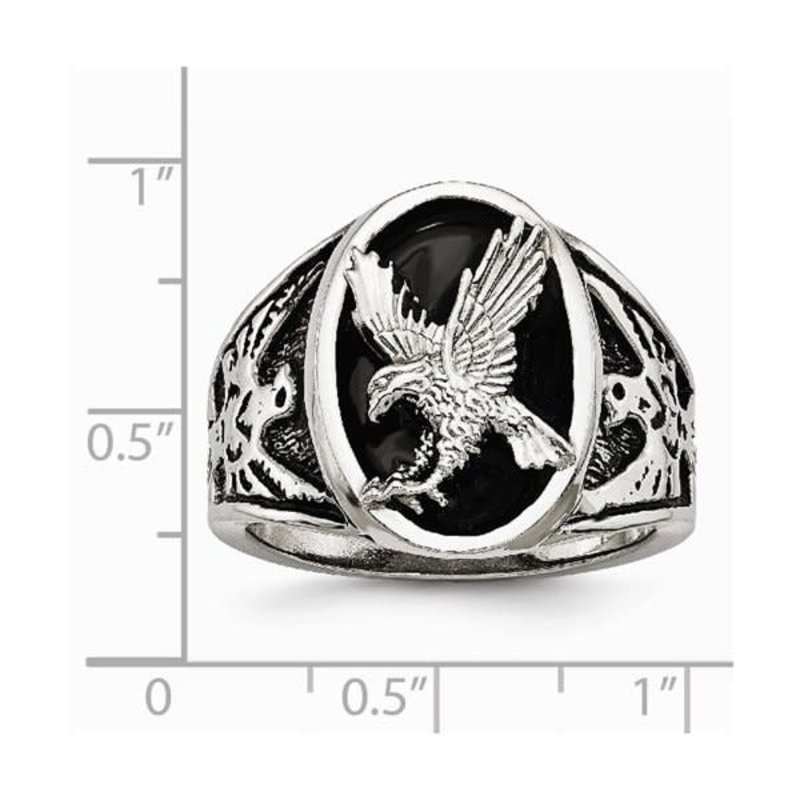 Steelx Stainless Steel Polished Enameled Eagle Mens Ring