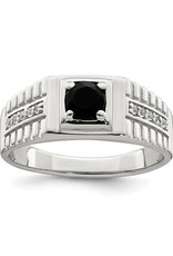 Sterling Silver Mens Onyx and White Topaz Ring