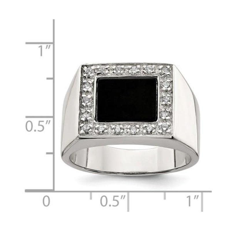 Sterling Silver Mens Onyx and CZ Ring