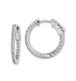 Sterling Silver (15 mm) In and Out Round CZ Hoop Earrings