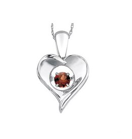 Dancing January Birthstone Heart Pendant Sterling Silver Garnet