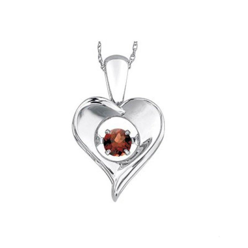 Dancing January Birthstone Heart Pendant Sterling Silver Garnet