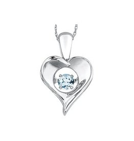 Dancing March Birthstone Aquamarine Dancing  Heart Sterling Silver Pendant