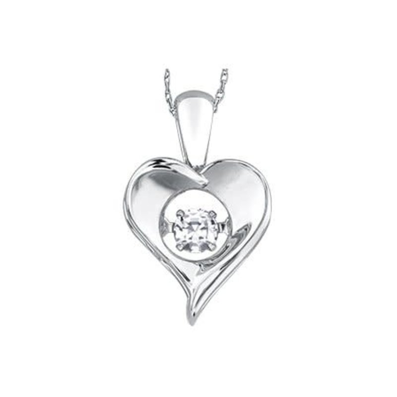 Dancing April Birthstone White Topaz Dancing  Heart Sterling Silver Pendant
