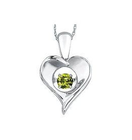 Dancing August Birthstone Peridot Heart Sterling Silver Pendant