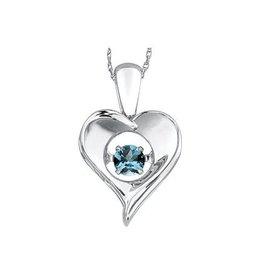 Dancing December Birthstone Blue Topaz Heart Sterling Silver Pendant