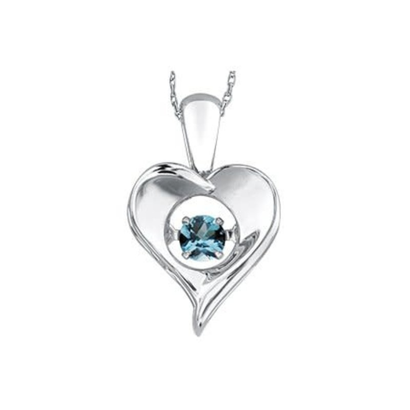 Dancing December Birthstone Blue Topaz Heart Sterling Silver Pendant