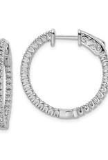 Sterling Silver (20 mm) In and Out Round CZ Hoop Earrings