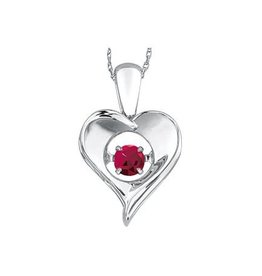 Dancing Birthstone Heart Pendant Sterling Silver Ruby July