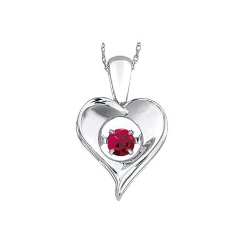 Dancing July Birthstone Heart Pendant Sterling Silver Ruby