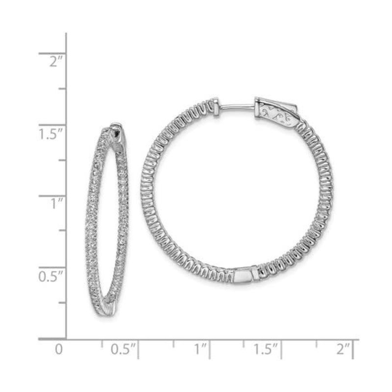 Sterling Silver (30 mm) In and Out Round CZ Hoop Earrings