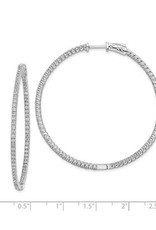 Sterling Silver (44 mm) In and Out Round CZ Hoop Earrings