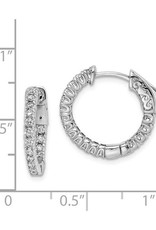 Sterling Silver (18 mm) In and Out Round CZ Hoop Earrings