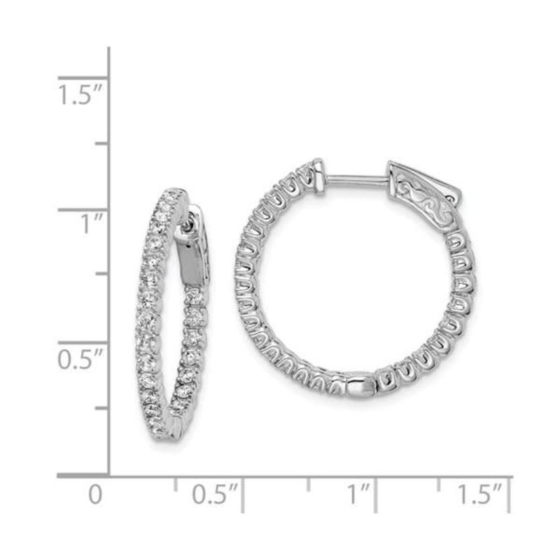 Sterling Silver (23 mm) In and Out Round CZ Hoop Earrings