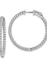 Sterling Silver (33 mm) In and Out Round CZ Hoop Earrings