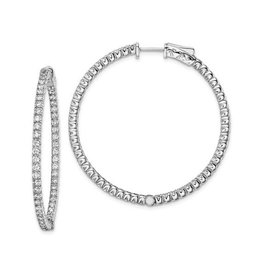 Sterling Silver (40 mm) In and Out Round CZ Hoop Earrings