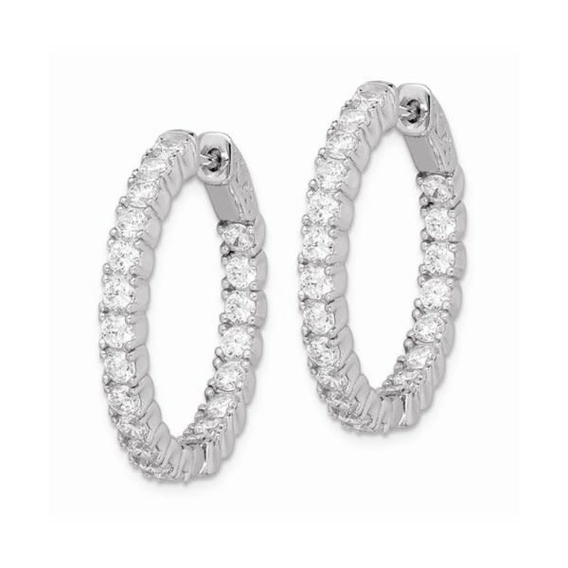 Sterling Silver (25 mm) In and Out Round CZ Hoop Earrings