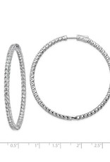 Sterling Silver (52 mm) In and Out Round CZ Hoop Earrings