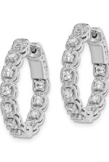 Sterling Silver (22 mm) In and Out Round CZ Hoop Earrings