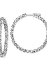 Sterling Silver (37 mm) In and Out Round CZ Hoop Earrings