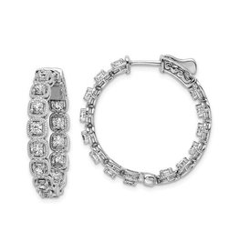 Sterling Silver (27 mm) In and Out Round CZ Hoop Earrings