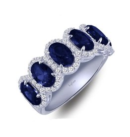 Lafonn Lafonn Elegant Cushion Halo Band with Lab Grown Sapphires and Simulated Diamonds