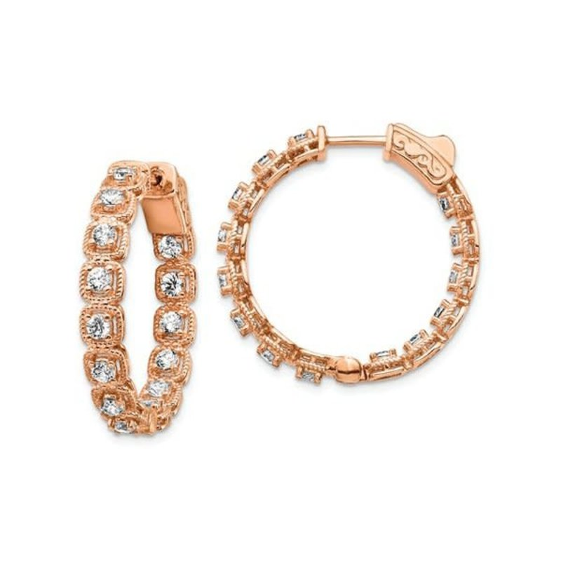 Sterling Silver (28.5 mm) Rose Tone In and Out Round CZ Hoop Earrings