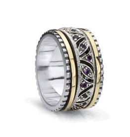 MeditationRings Meditation Ring  Always Sterling Silver and 10K Yellow Gold  Plated Amythyst Gemstones Spinning Band