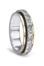 MeditationRings Meditation Ring (Beloved) Silver with 10K Yellow Gold & Cubic Zirconia CZ