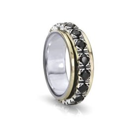 MeditationRings Meditation Ring Boundless Sterling Silver and 10K Yellow Gold Black CZ Spinning Band