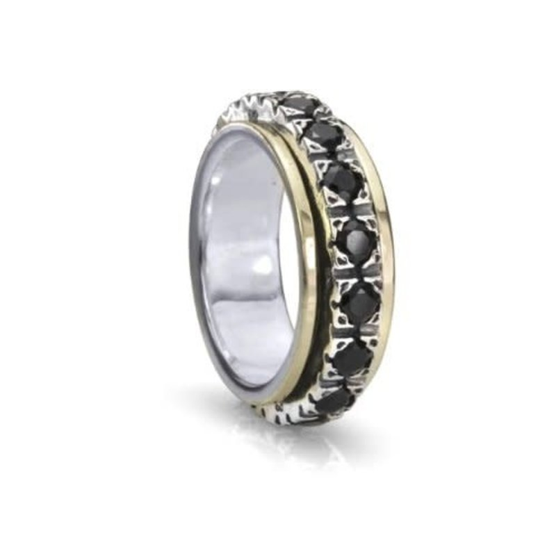 MeditationRings Meditation Ring (Boundless) Silver with 10K Yellow Gold & Black Cubic Zirconia