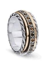 MeditationRings Meditation Ring (Endless) Silver with 10K Rose Gold & Garnet Gemstones
