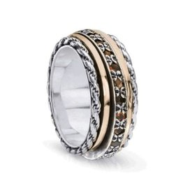 MeditationRings Meditation Ring (Endless) Silver with 10K Rose Gold & Garnet Gemstones
