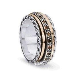 MeditationRings Meditation Ring Endless Sterling Silver and 10K Rose Gold Plated Garnet Gemstones Spinning Band