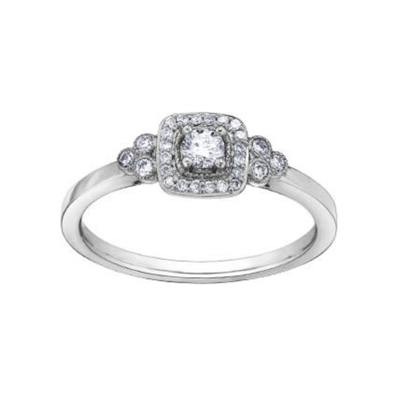 I am Canadian Halo Canadian Diamond (0.23ct) White Gold Ring